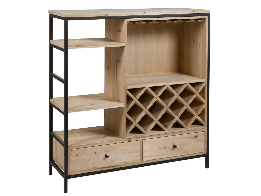 Mueble botellero para vino industrial de hierro y madera - Botellero de madera para vino ...