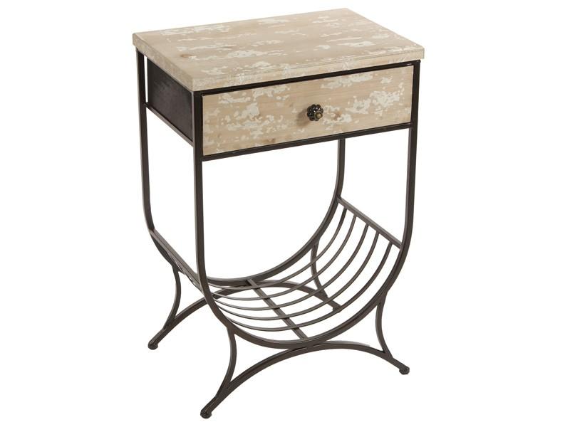 Mesa auxiliar vintage de madera de abeto envejecida y metal - Mesas auxiliares pequenas ...