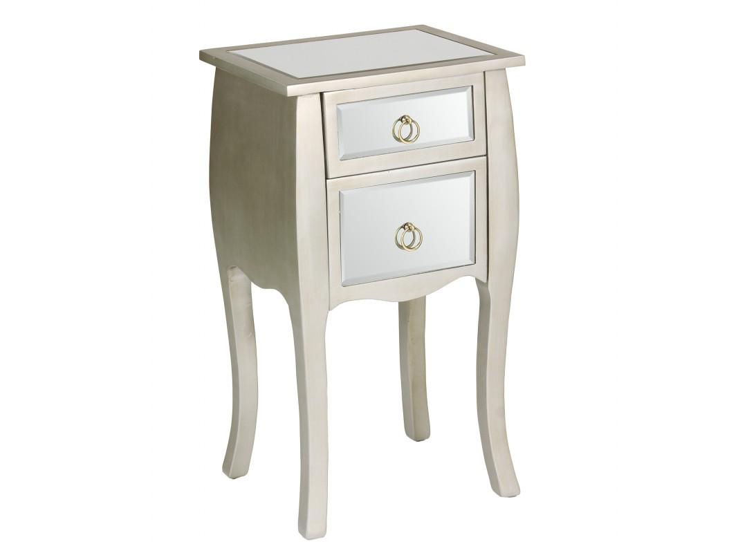 Mueble de espejo y madera con 2 cajones muebles de espejo - Mesitas de noche pequenas ...