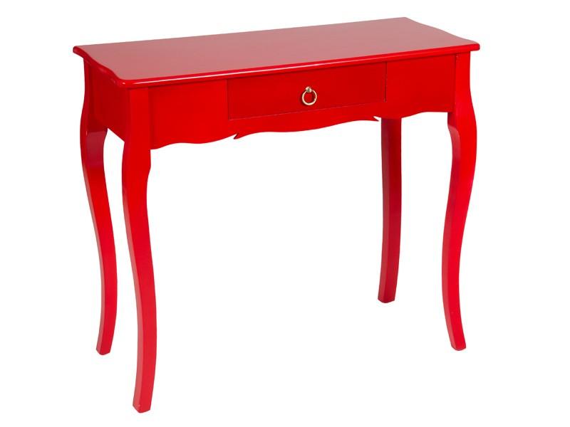 Mueble de entrada vintage de madera pintada color rojo for Colores de muebles de madera