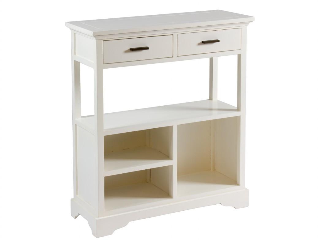 Mueble estanter a de madera de acacia con 2 cajones for Mueble auxiliar dormitorio