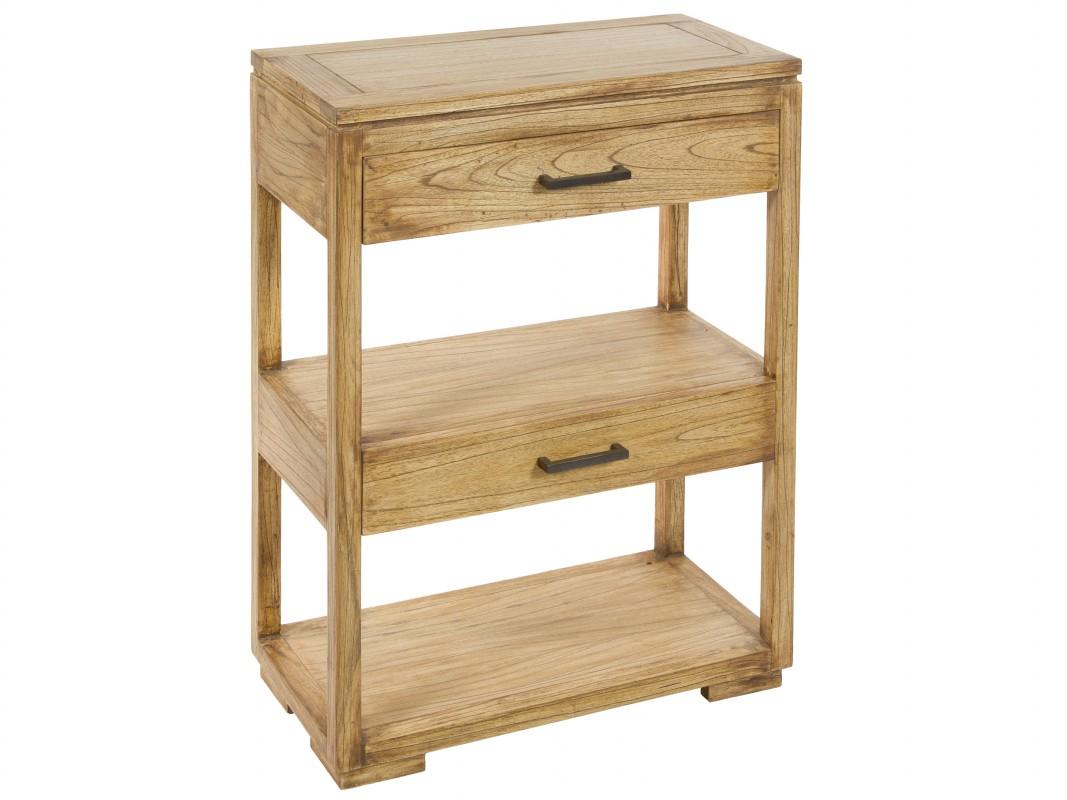 mueble estrecho de madera natural con cajones y estantes
