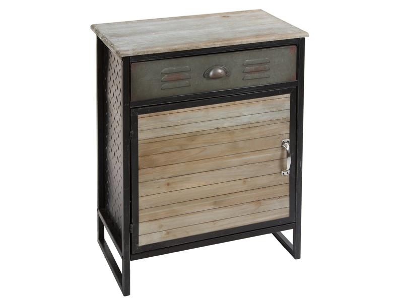 Mesa con caj n y puerta loft for Comprar mueble industrial