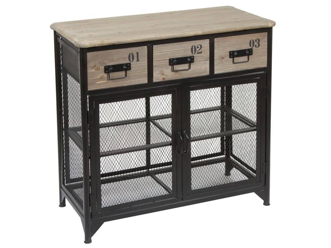 Mueble auxiliar industrial de hierro y madera de abeto for Muebles de hierro y madera