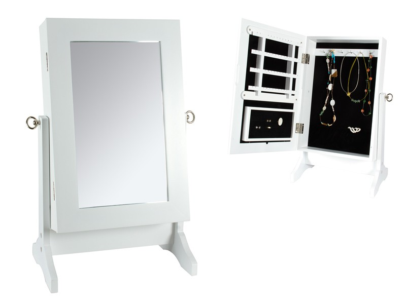 Mueble joyero con espejo peque o blanco muebles para joyas - Espejos pequenos ...