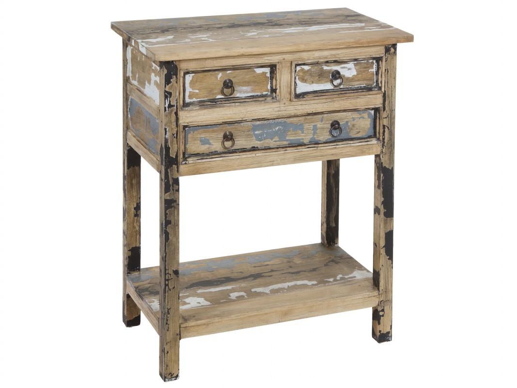 Mueble De Madera Decapada Cottage Con Franjas De Colores # Muebles Efecto Desgastado