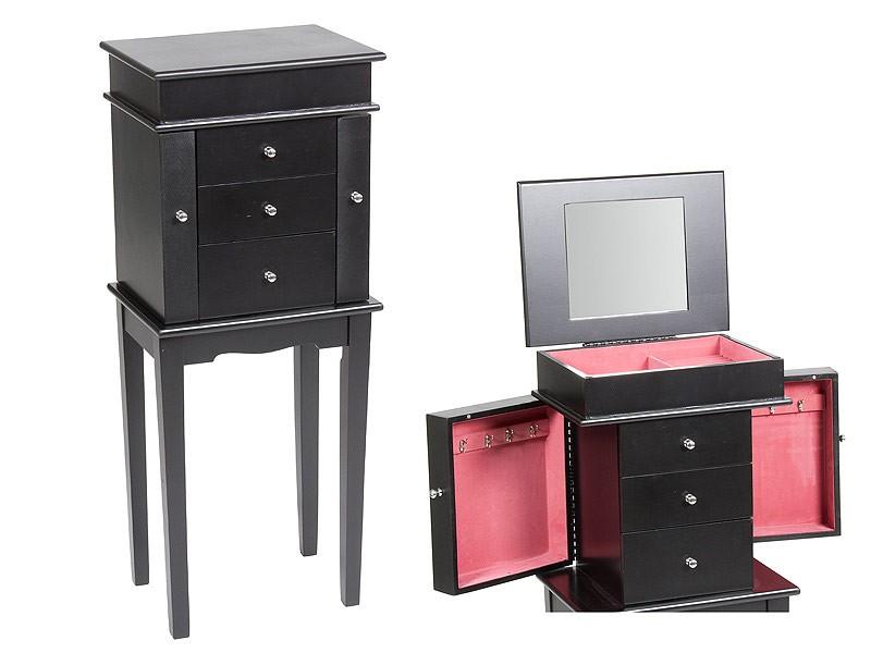 Armario Joyero De Pie ~ Mueble para joyas con cajones, perchero y espejo
