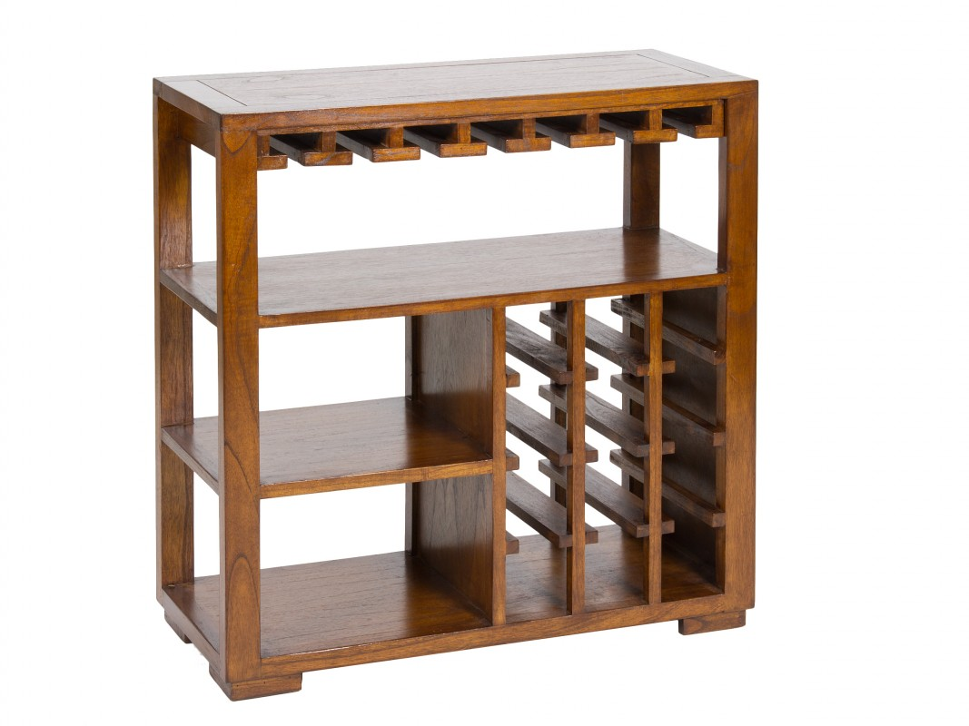 Mueble botellero peque o de madera de acacia estilo colonial for Bar de madera pequeno