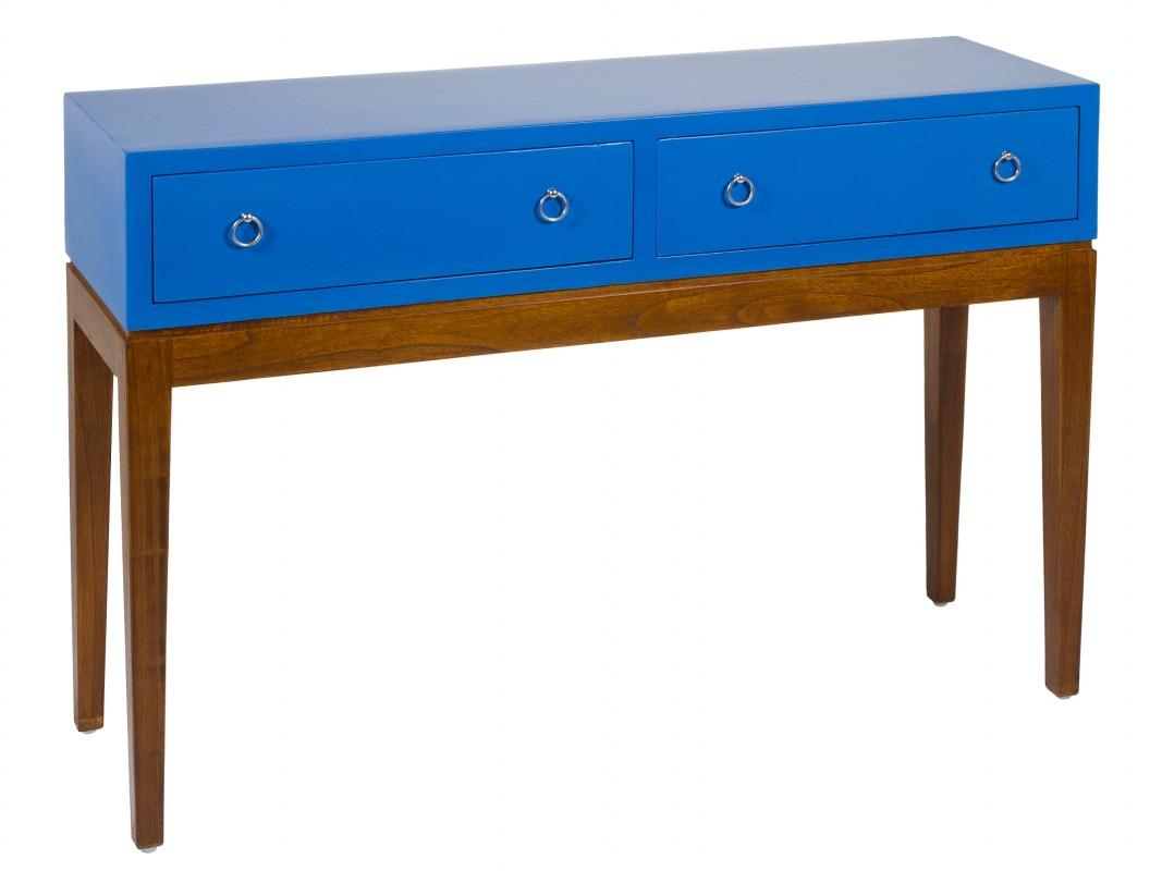 Mueble recibidor azul estilo colonial r stico con patas - Mueble recibidor rustico ...