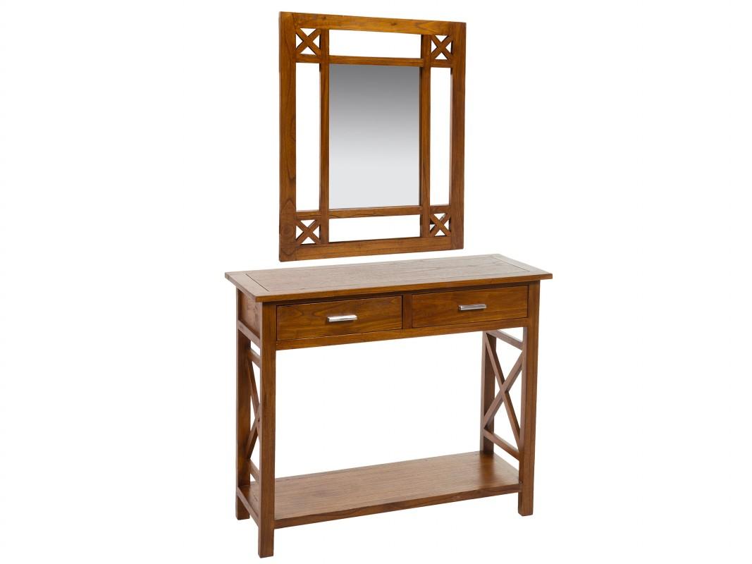 Mueble para recibidor colonial madera con espejo y cajones for Mueble recibidor madera