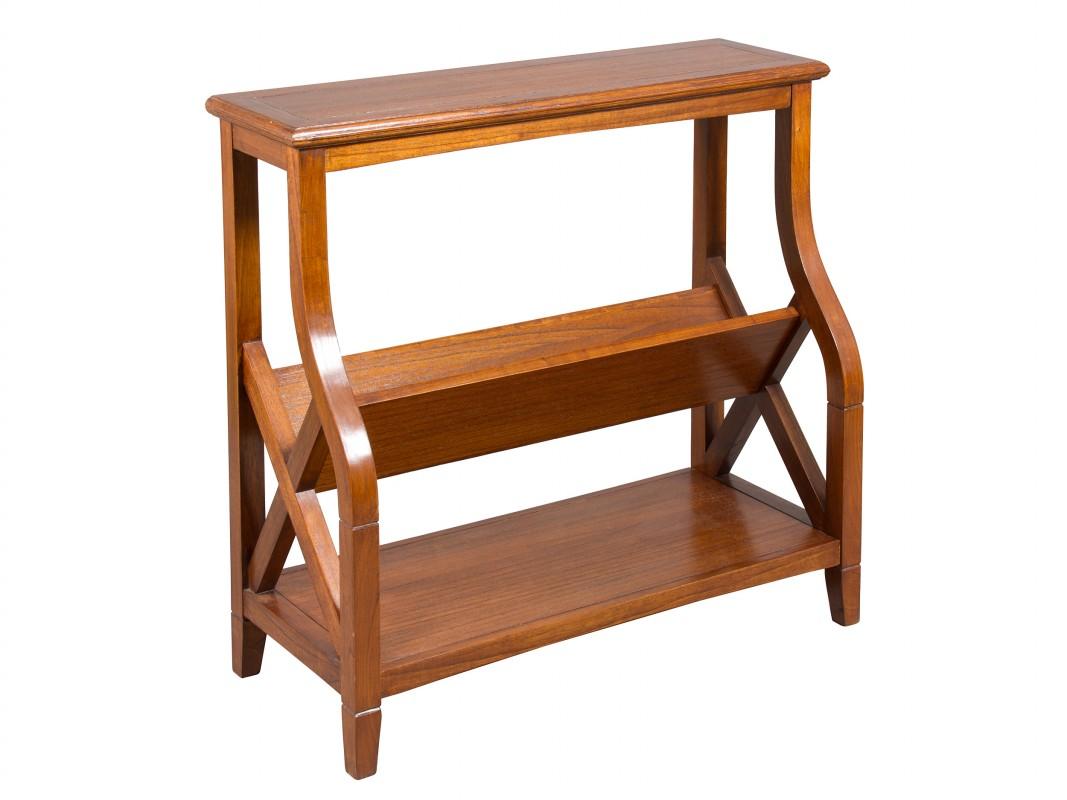 Mueble revistero de madera de acacia con 3 estantes for Muebles para cds madera