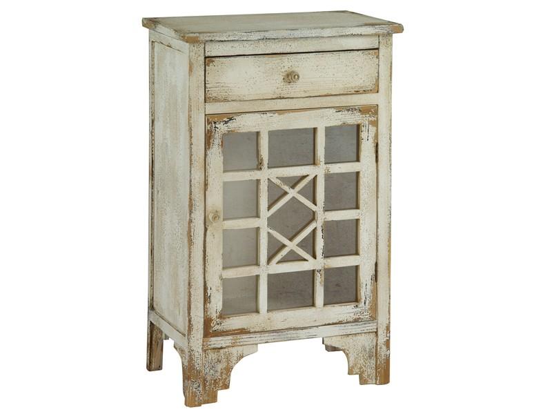 Mueble r stico vintage con puerta y caj n de madera decapada for Mueble auxiliar rustico