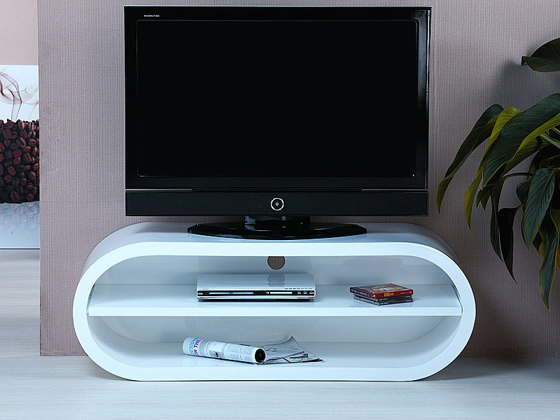 Mueble televisor moderno en blanco lacado mesas para tv for Mueble tv lacado blanco