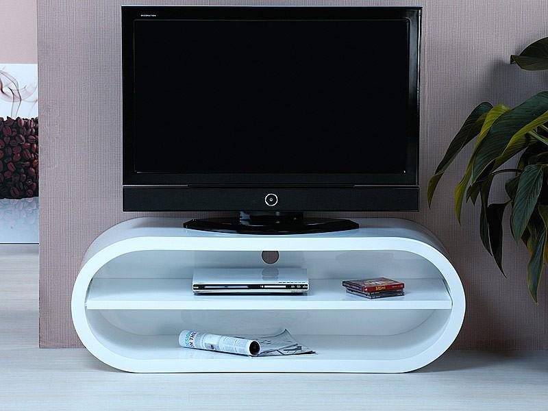 Mueble televisor moderno en blanco lacado mesas para tv for Muebles auxiliares para television