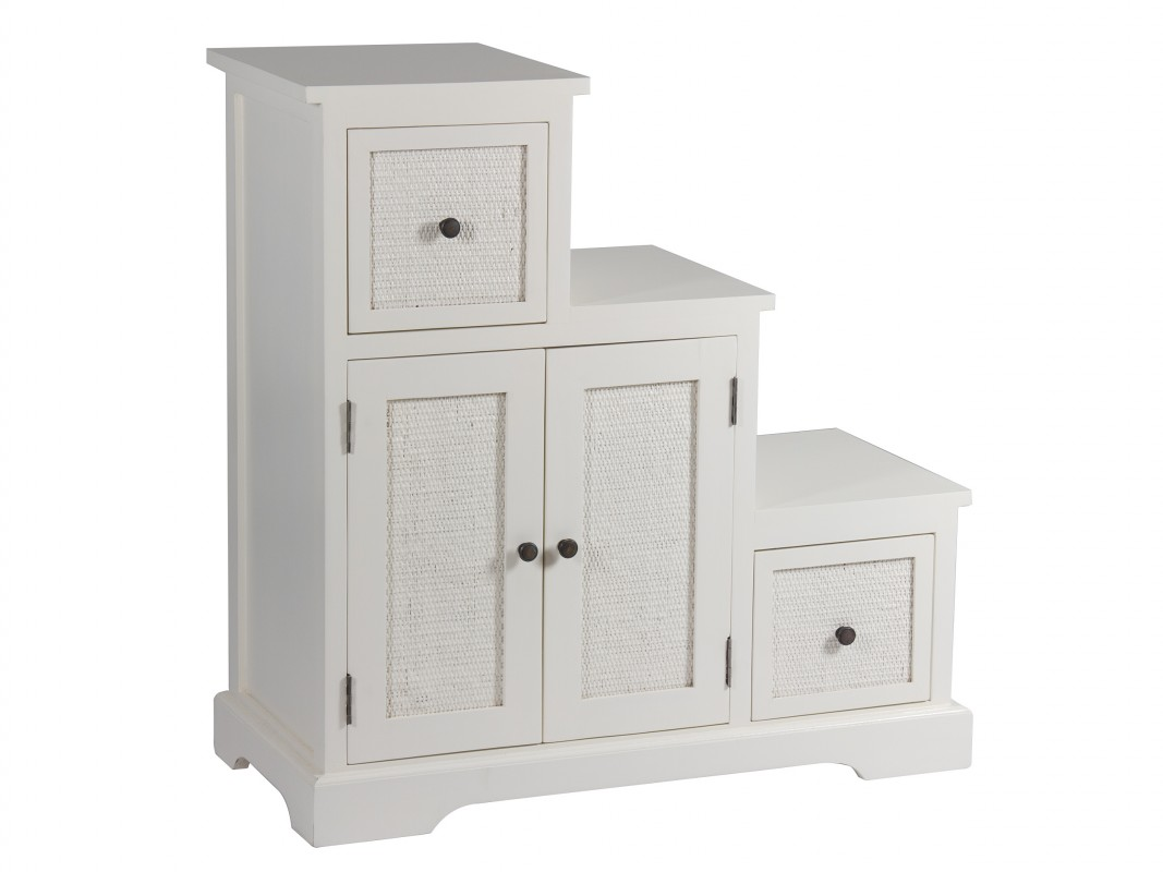Mueble auxiliar tipo escalera colonial madera y ratt n for La forma muebles