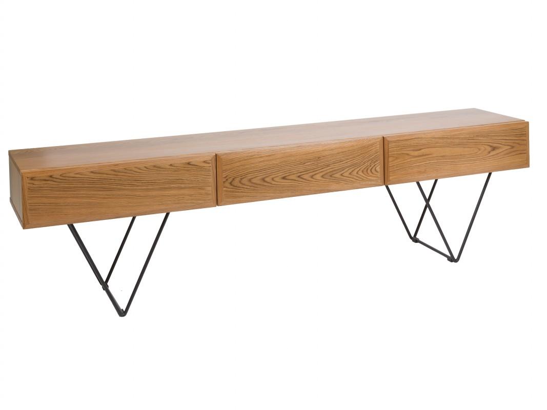 mueble tv 200 cm industrial moderno de hierro y madera. Black Bedroom Furniture Sets. Home Design Ideas