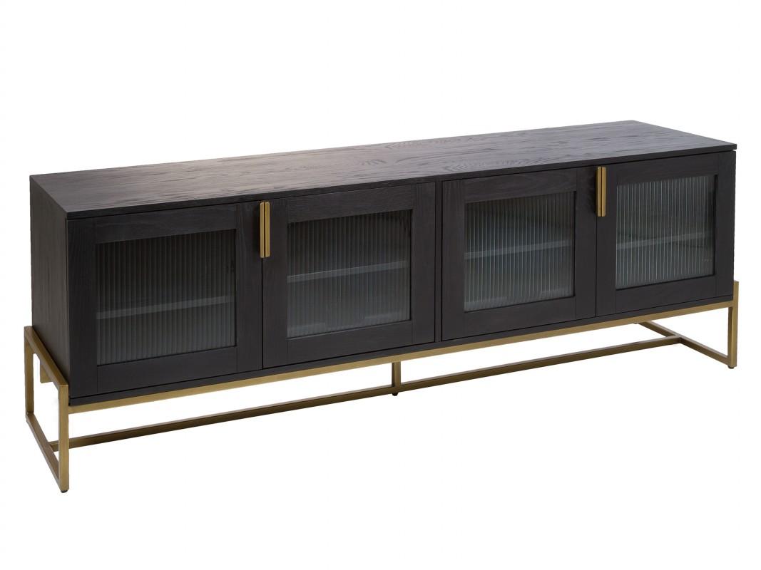 mueble tv de dise o negro y dorado estilo contemporaneo