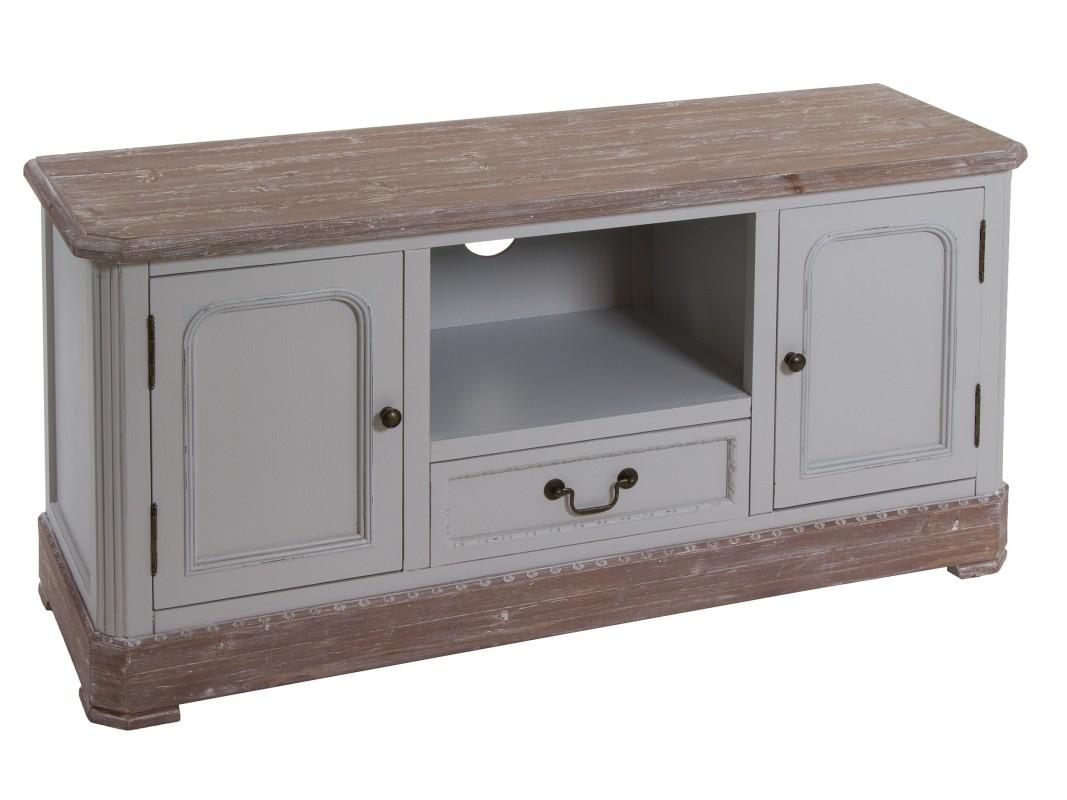Mueble tv envejecido en madera de paulownia estilo vintage for Muebles de madera color gris