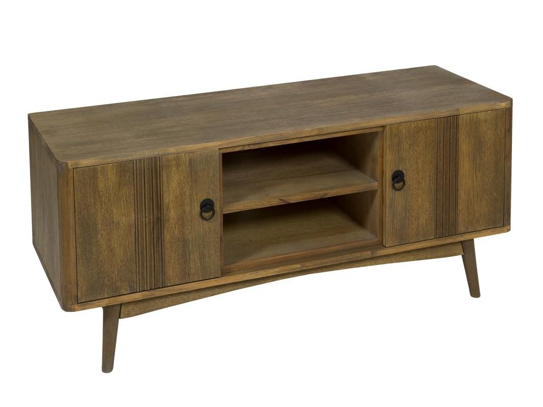 Mueble tv feng shui de madera de teca y mdf marr n jaspeado - Muebles de madera teca ...