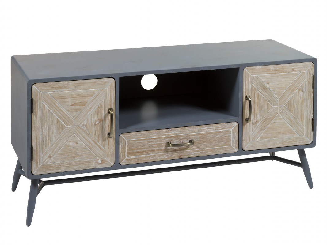 Mueble TV industrial hierro gris y abeto Bari