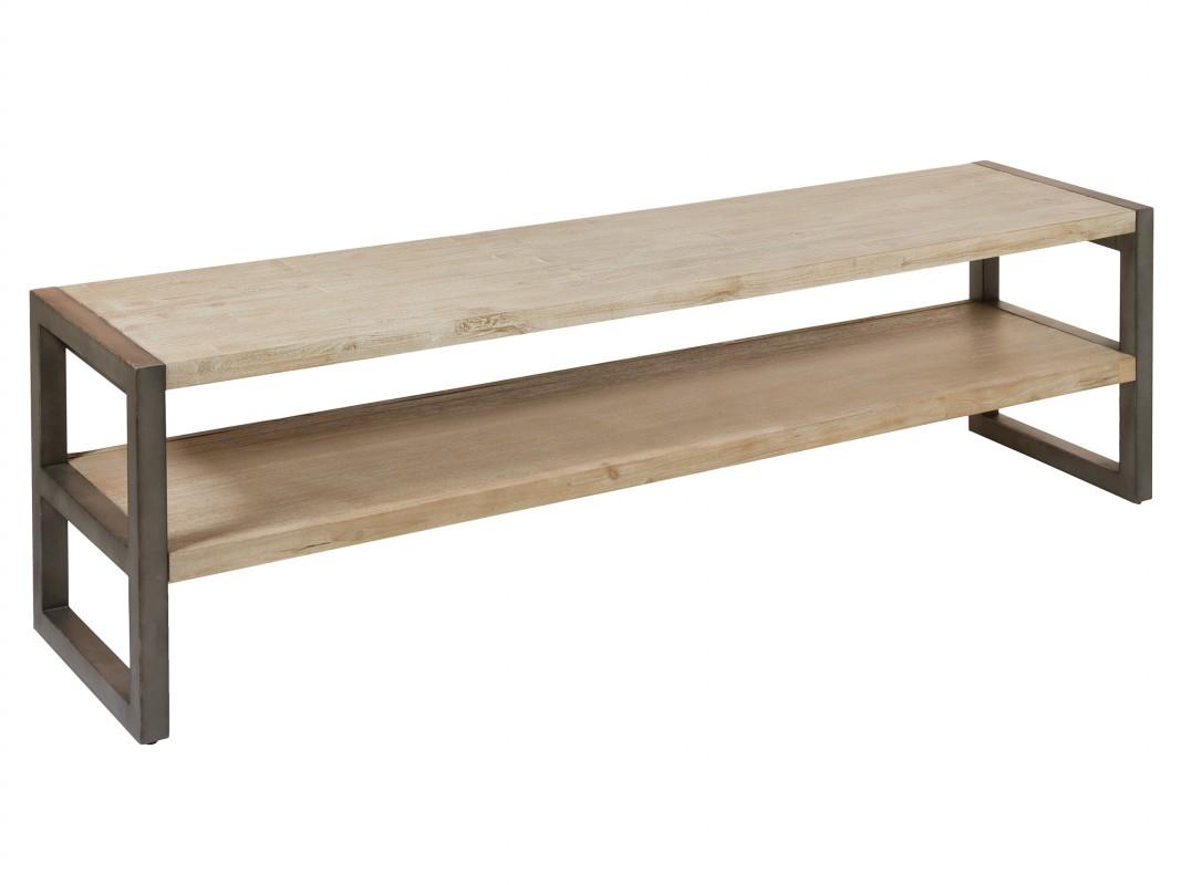 Mueble tv madera de acacia y hierro 175 cm estilo for Mueble de pared industrial