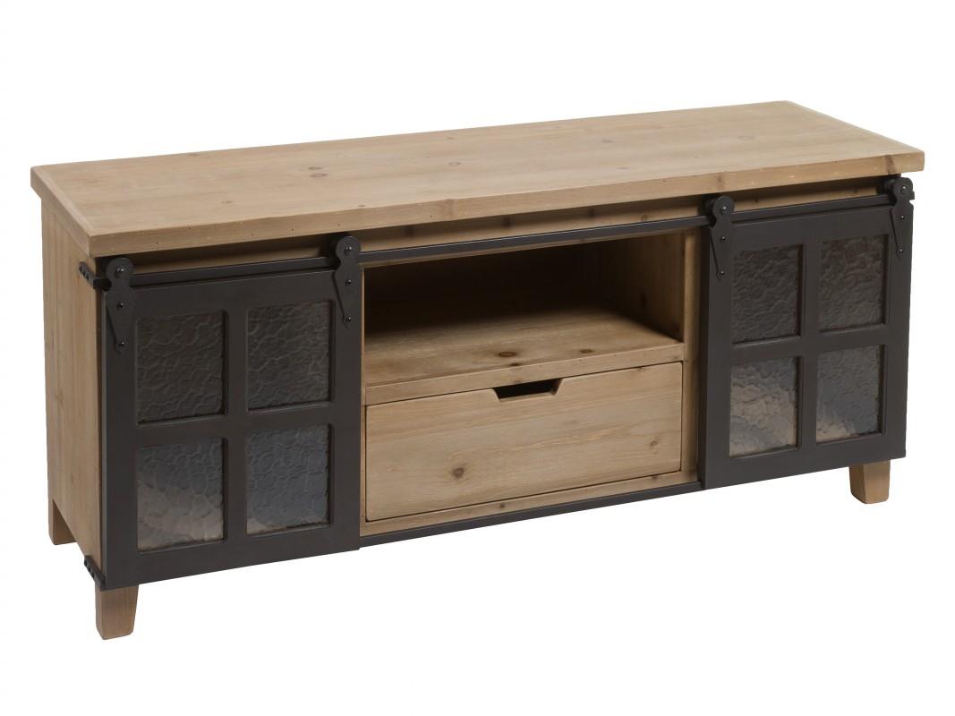 Mueble tv loft industrial de madera de abeto con puertas for Muebles de hierro y madera