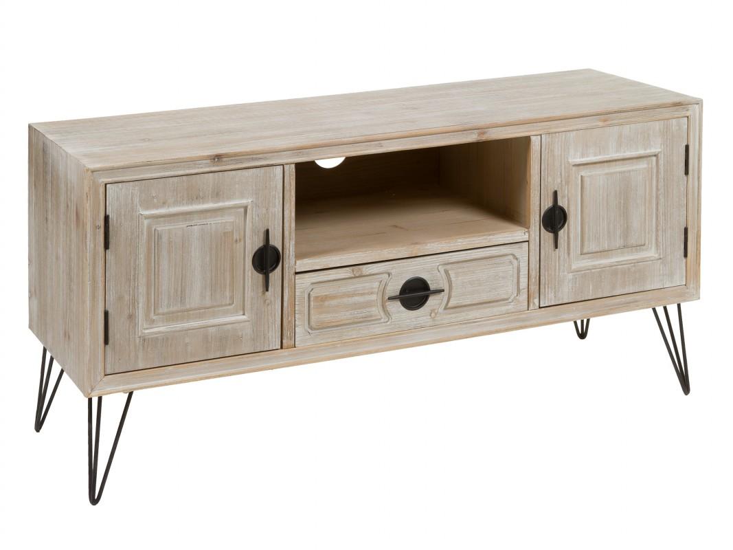 Mueble tv industrial de madera y hierro mesa para tv for Muebles tv industrial