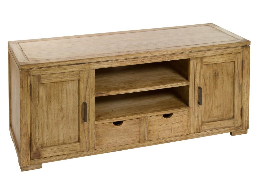 Mueble tv de madera natural envejecida mesas de televisi n for Muebles de madera para tv