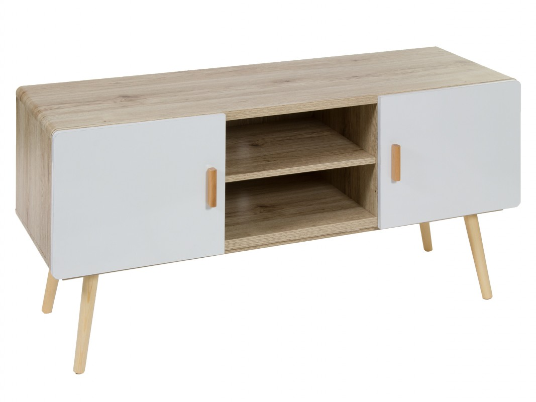 Mueble tv blanco y madera estilo escandinavo mesas para tv for Envejecer mueble blanco ikea
