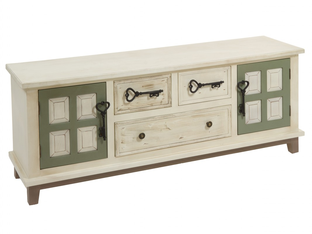 Mueble tv retro de madera color crema con puertas verdes for Mueble tv retro