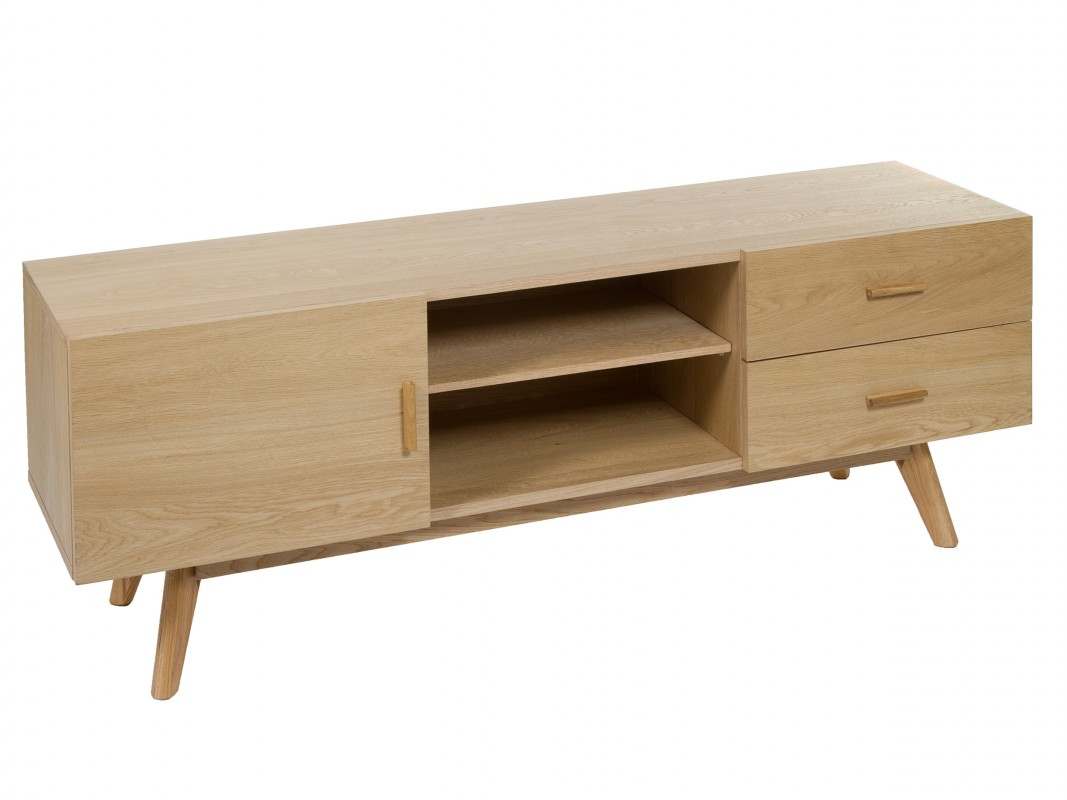 Mueble tv roble color natural con patas altas venta online for Muebles color roble