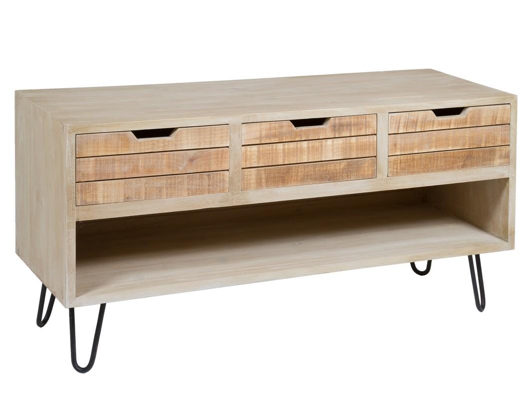 Mueble para television plana estilo r stico de madera y metal - Muebles para tv plana ...