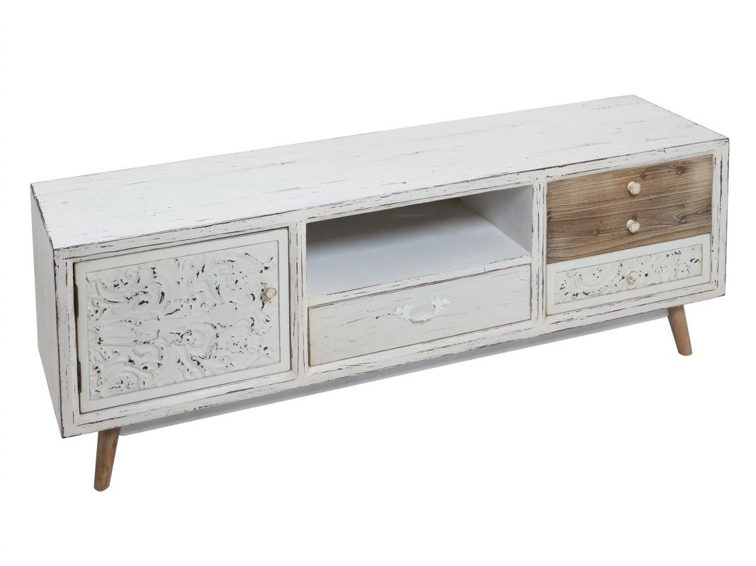 Mueble tv vintage blanco envejecido de madera de abeto y dm for Mueble tv vintage