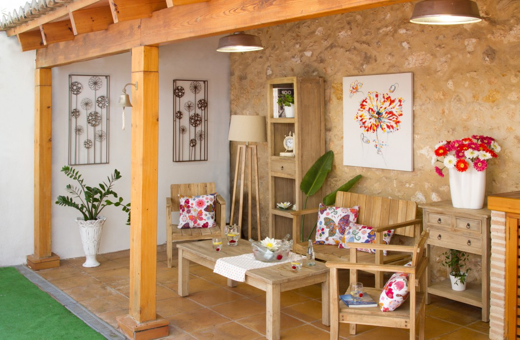 Banco de madera r stico para jard n o terraza por internet for Terrazas decoracion rusticas