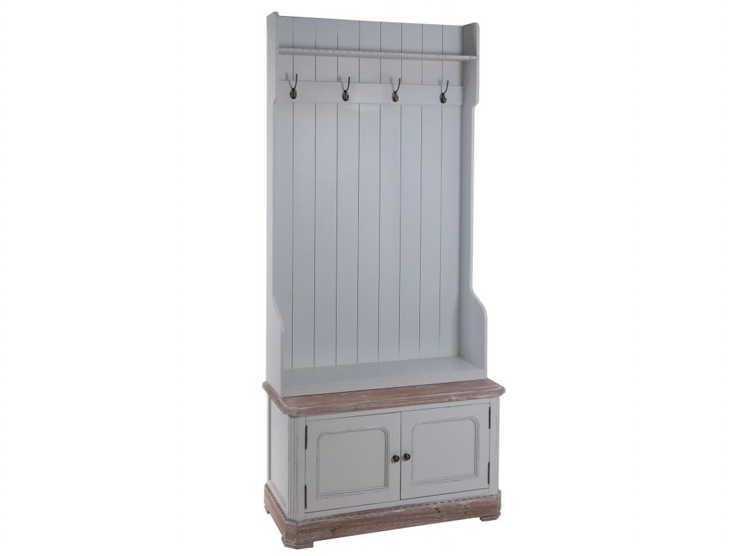 Mueble perchero recibidor con puertas y estante vintage - Muebles de entrada vintage ...