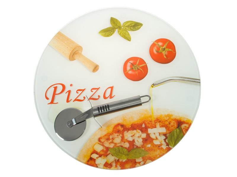 Plato pizza de cristal con cortapizza art culos de menaje for Platos de pizza