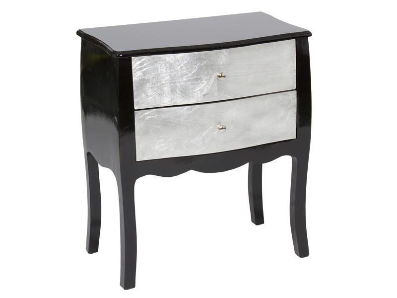Recibidor negro y plata con dos cajones - Muebles entrada