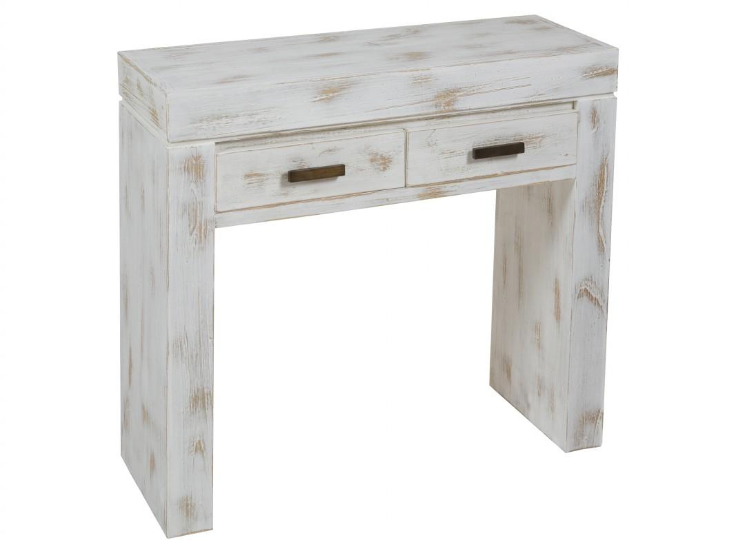 Recibidor blanco vintage decapado consola blanca envejecida - Muebles de entrada vintage ...