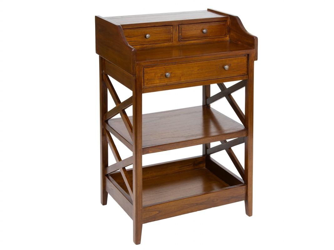 Mesa estantería colonial con 3 cajones  Muebles auxiliares