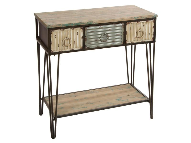Recibidor estilo industrial de madera con 3 cajones de metal - Mueble recibidor madera ...
