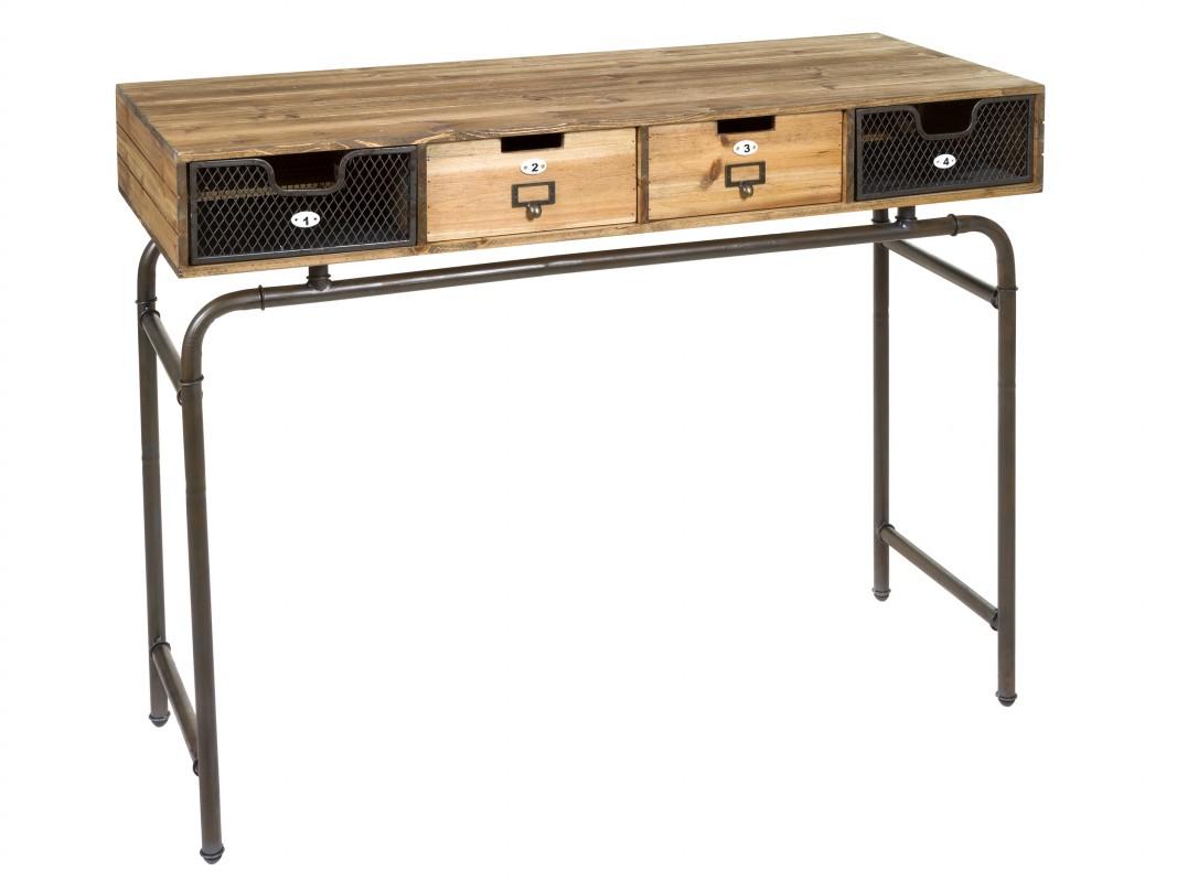 Mueble de entrada industrial de forja y madera de abeto for Consola estilo industrial