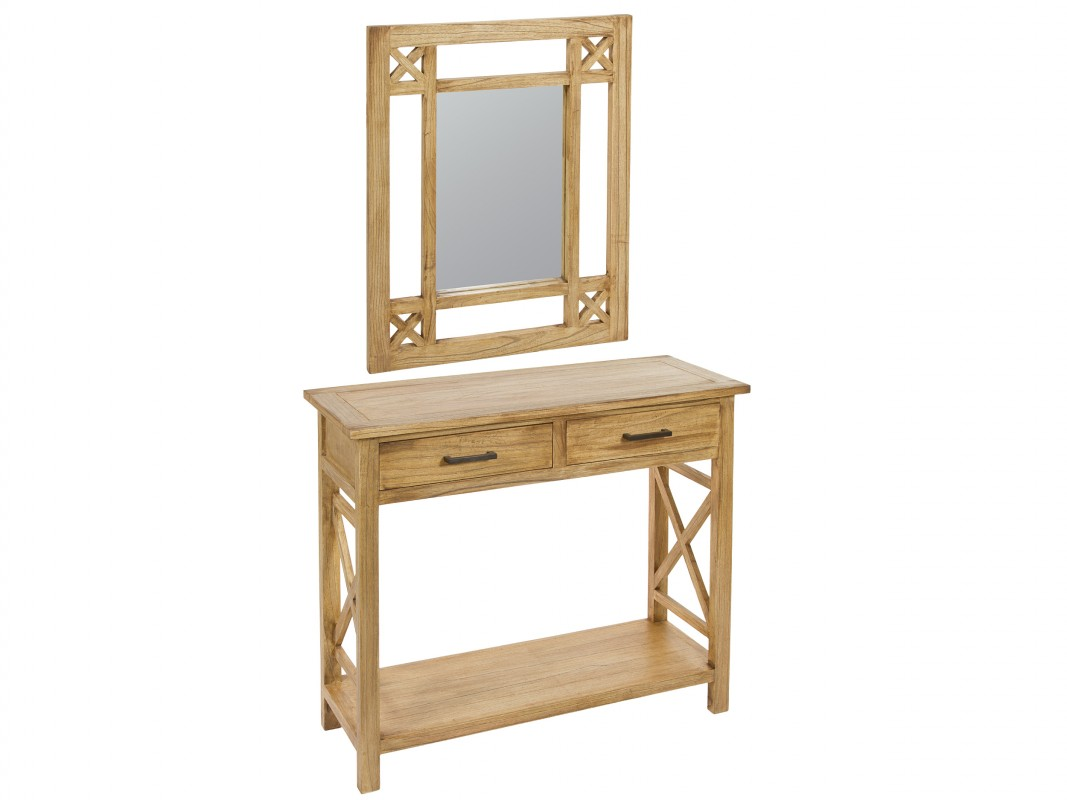 Recibidor madera natural con espejo estilo r stico for Estilo rustico moderno caracteristicas