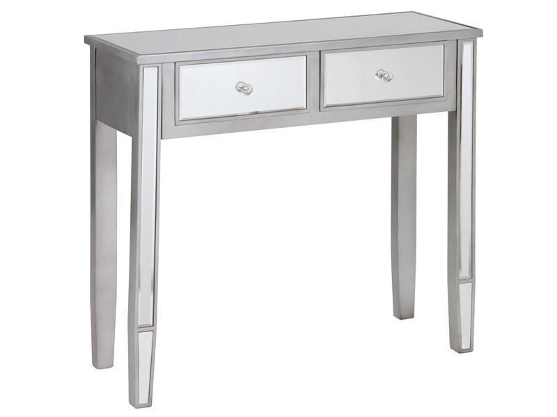 Mueble recibidor moderno de cristal de espejo con 2 cajones - Espejo recibidor moderno ...