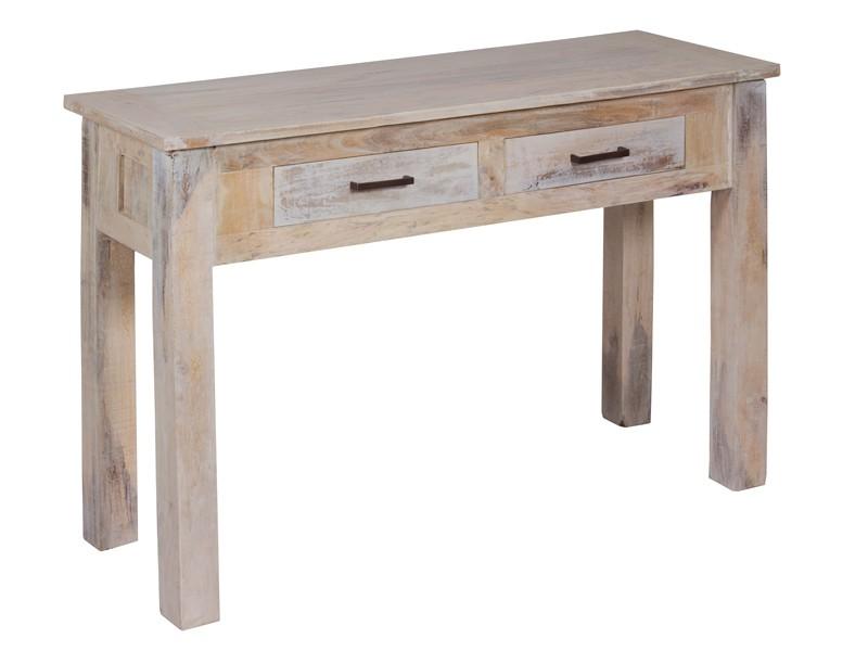 Mesa recibidor vintage de madera 2 cajones consola entrada for Mueble cajones pequenos