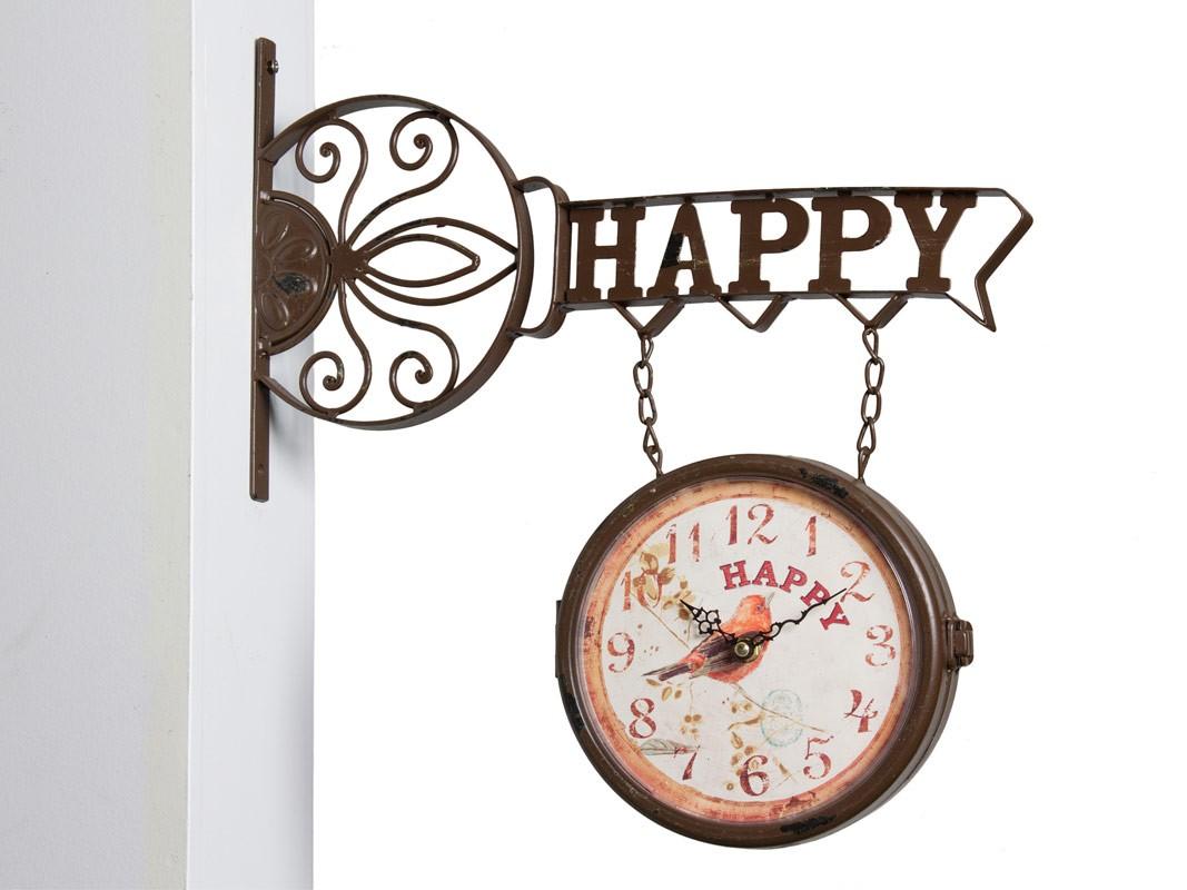 Reloj de pared estilo vintage happy marr n - Reloj de pared vintage ...