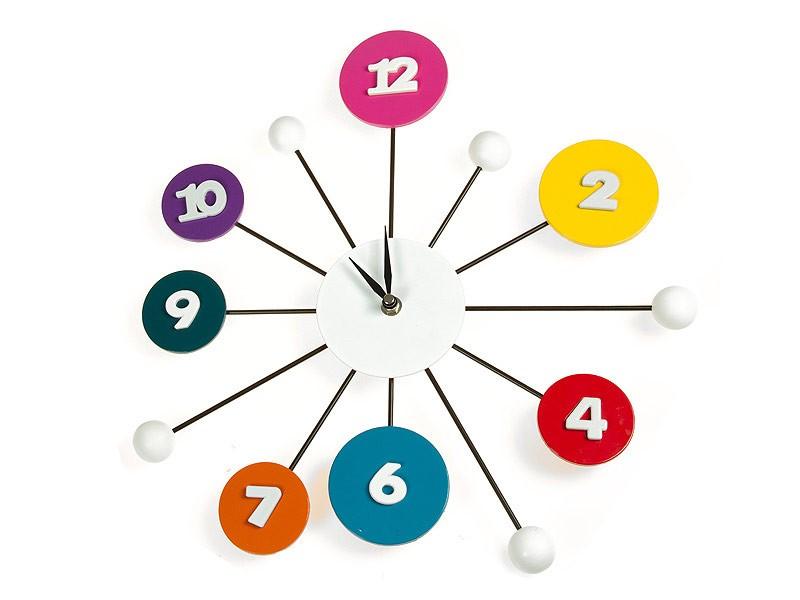 Reloj pared n meros y esferas multicolor cat logo relojes - Reloj adhesivo de pared ...
