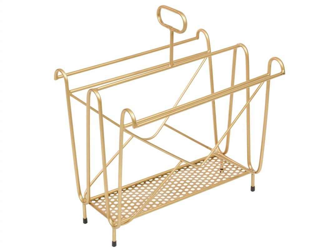 Revistero de hierro dorado estilo vintage para 10 revistas for Revisteros de suelo
