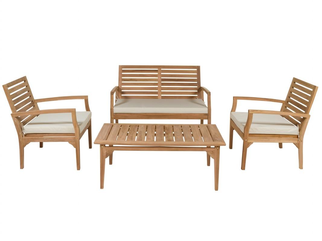 Salon de jardin madera de teca con sofa dos sillones y for Conjunto jardin madera