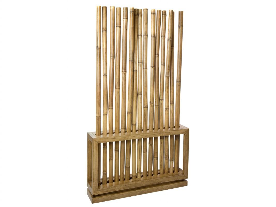 Separador De Cañas De Bambú Y Madera De Mindi Natural