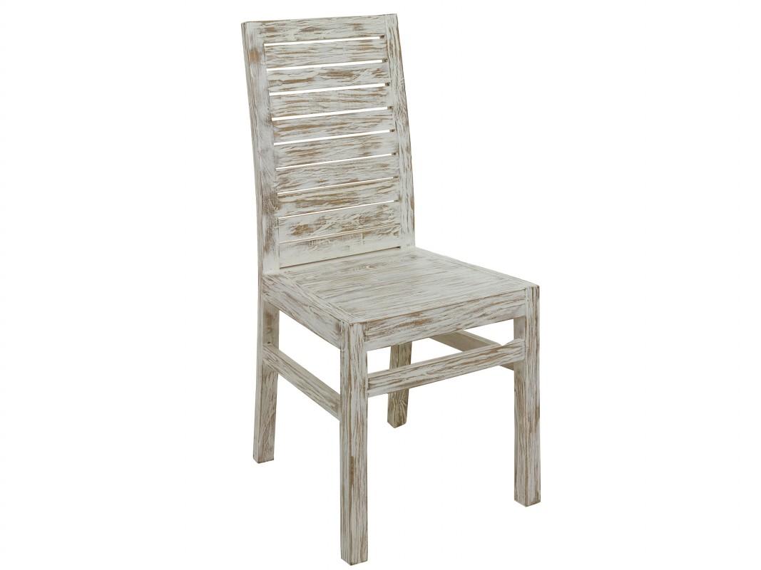 silla blanca vintage de madera decapada silla blanca